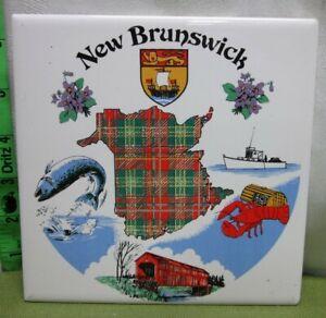 NEW BRUNSWICK lobster pot-holder Canada porcelain tile Lion coat-o-arms heraldry