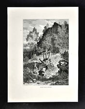 1872 Picturesque Print - Artist Painting - Eagle Rock near Orange New Jersey