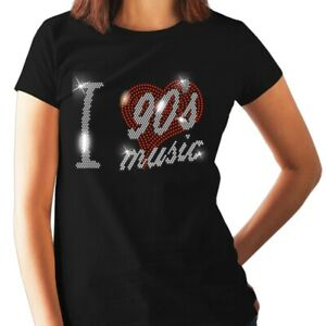 I LOVE 90s NINETIES MUSIC Crystal T Shirt With Rhinestone Design (any size )