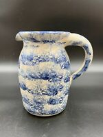 P R Storie Pottery Co. Antique Blue Stoneware Pitcher Marshall, TEX