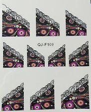 Nail art stickers bijoux d'ongles: 10 décalcomanie camaïeu plumes de paon