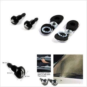 2 Pcs Black Aluminum Car SUV Windshield Wiper Water Jet Spray Washer Nozzle Kits