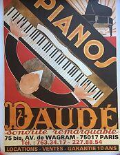 Original Vintage Piano Daude Poster Mounted on Linen, Circa 1975
