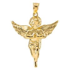 Gold Diamond Cut Angel Medium Pendant