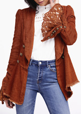 Free People Throwback Corduroy Jacket Bell Sleeve Lace Ruffle Military OB670815