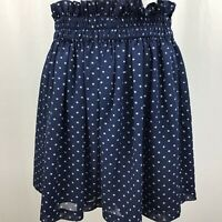 Maison Jules Dot-Print Pull-On Mini Skirt Blue Notte Combo Women Medium  A0026