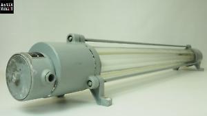 Alte VEB explosionsgeschützte Fabriklampe Ex Lampe Neonlampe Bauhaus Art Deco
