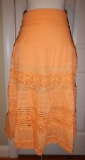 NEW Simply Noelle S M 8 10 Orange Lace Lined Fold-Over Waist Peasant Skirt NWT