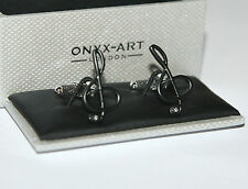 Cufflinks - Treble Clef Design Music Note Black with Crystal *New* Gift