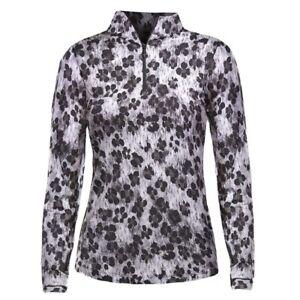 IBKUL Long Sleeve 1/4 Zip Mock Neck Top UPF 50+ Sun Golf Le Leopard Gray S M NWT