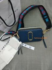 Real MARC JACOBS Logo Strap Snapshot Small Camera Bag sea blue speical sales