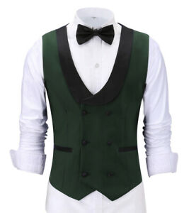 Mens Double-Breasted Suit Vests Slim Fit Waistcoat Tailored Business Notch Lapel