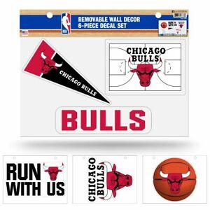Chicago Bulls NBA Set of 6 Removable Wall Decal Stickers