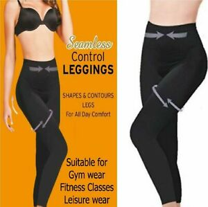 Ladies Seamless High Waisted Control Slimmig Tummy Support Shapewear Leggings UK