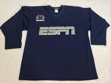 ESPN Mens L Large National Ice Hockey Night Navy Blue Gray Jersey Shirt