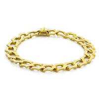 """Estate 18K Yellow Gold Specialty Curb Link Chain Bracelet Unisex 8.5"""" 10.5 mm"""