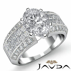 Oval Cut Natural Diamond Engagement Prong Invisible Set Ring GIA G SI1 2.46 Ct