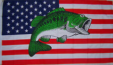 U.S. USA BASS FISH SPORT FISHING FLAG NEW 3x5ft better quality usa seller