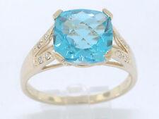 Blautopas Ring 585 Gelbgold 14Kt Gold natürlicher beh. Blautopas    8 Brillanten
