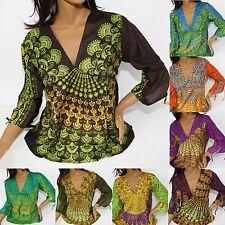 Top Palas de la Camisa Gr.34 36M India Blusa Goa Hippie Vintage Mandala 3/4 Ka