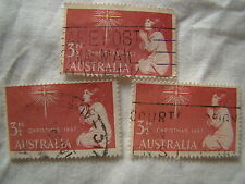 Australia Stamp 1957 Scott 306 A101  Christmas 3 1/2 D Set of 3