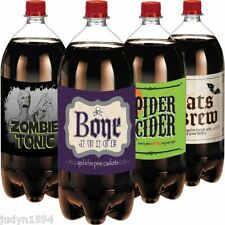 PACK OF 4 HALLOWEEN 2L SOFT DRINK BOTTLE LABELS HORROR PARTY TABLE DECORATIONS