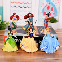 6pcs/set Disney Princess Figures Toy Cake Toppers Collectible Gift For Kids New
