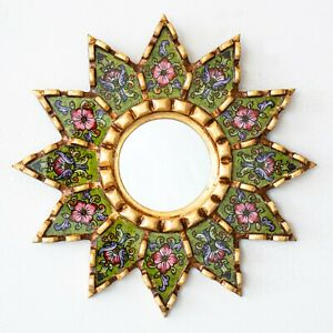 """Accent Green Round Mirror 9.8"""" Wall art Decor, Painted glass Floral gold mirrors"""