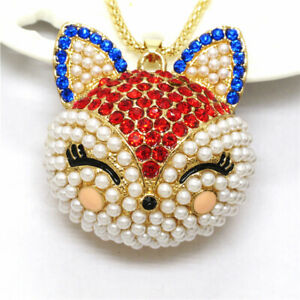 Red Cute Crystal Pearl Fox Head Pendant Lady Betsey Johnson Long Chain Necklace