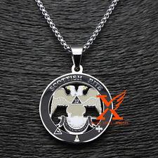 "Lodge of Perfection Scottish Rite 32th Degree Masonic Pendant Necklace 3mm 24"""