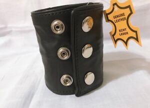 Ak Mani,Medium Real Leather Wristband Armband Black Piping Zipper Inside Pocket