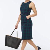 J Crew NWT $188 Belted Sheath Dress in Black Watch Tartan | Sz 12