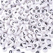 200pcs Lot Mini Acrylic Alphabet Letter Coin Round Flat Loose Spacer Beads *