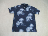 Nautica Polo Shirt Adult Large Blue White Palm Trees Hawaiian Rugby Casual Men *