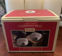 """New (2) Spode Christmas Tree Square 4.5"""" Bowls Holiday Snack Candy Relish"""
