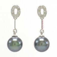 AAA Black Pearls; 12 Sparkling Diamonds; 14k White Gold Dangle Stud Earrings TPJ