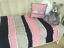 2 pce  Boys Cot Quilt / Blanket & Truck Cushion Cotton Nursery Decor Bedding