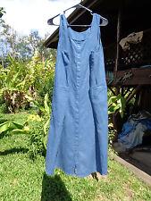 FLAX  M Slate Blue Everyone's Satisfied linen dress B45 L43 fr 1999 Basic