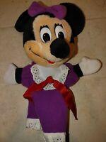 "Minnie Mouse Plush Hand Puppet Purple The Walt Disney Company 11"" Vintage"