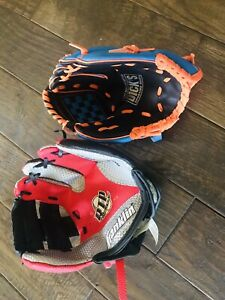 Lot Of 2- Dicks & Franklin Youth Baseball Glove RHT Barely Used Red Black Blue
