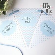 Personalised Baby/Child Christening/Baptism Bunting/Banner Party Decoration Blue