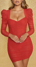 Womens Oh Polly Taste Of Heaven Red Ruched Puff Sleeve Mini Dress RRP £47.99 S10