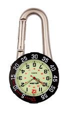 Silver Clip on Carabiner Black Rotating Bezel Luminous Face FOB Nurse Watch