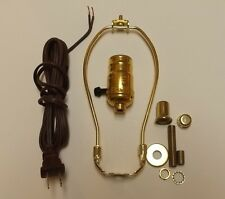"TABLE LAMP WIRING KIT WITH 3-WAY SOCKET, 8"" HARP, BROWN CORD SET 30551P8JB"