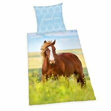 Bed Cover Herding Smooth Horse Pony Freedom Meadow 135 X 200 Cm Gift WOW