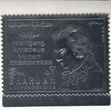 Sharjah 1970 - Wolfgang Amadeus Mozart - Airmail - Silver Foil Stamp Mnh
