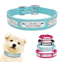 Personalized Dog Collar Rhinestone Bling Pet Do Cat ID Name Collar Pink  XS S L