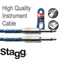 Stagg SGC6VT Vintage Tweed Guitar/Amp Cable 20 feet long Blue Warranty