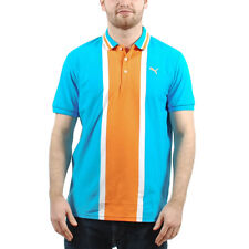 Men's PUMA Vertical Colorblock Athletic Polo Vivid Blue size S $70