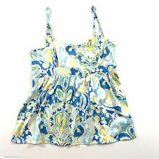 Tex by Max Azria Women's Tank Top Floral Spaghetti Strap White Yellow Blue M